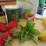 Iced Green Tea latte with strawberry and Basil