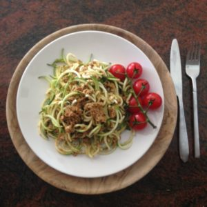raw vegan sundried tomato and walnut bolognese sauce