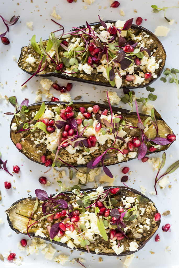 Roast Aubergine with vegan feta cheese